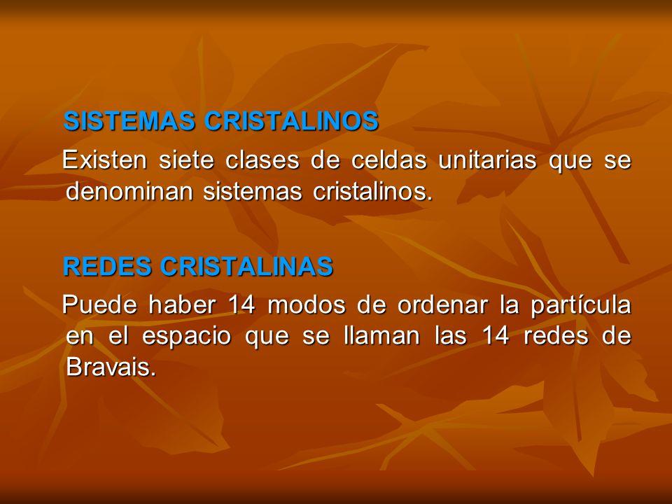 SISTEMAS CRISTALINOS SISTEMAS CRISTALINOS Existen siete clases de celdas unitarias que se denominan sistemas cristalinos. Existen siete clases de celd