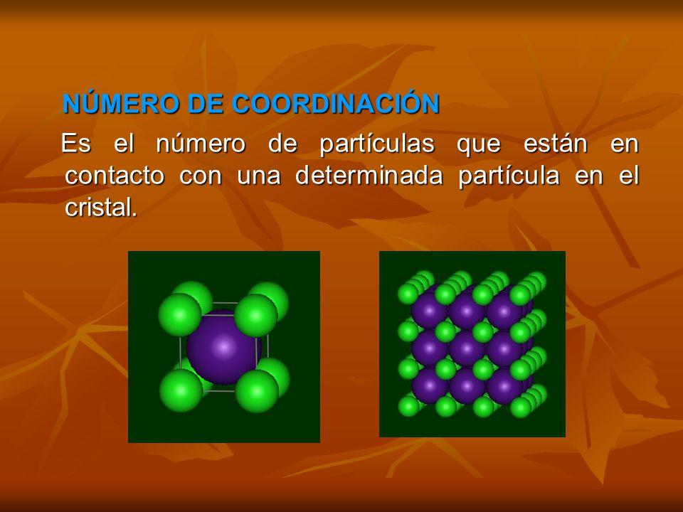 NÚMERO DE COORDINACIÓN NÚMERO DE COORDINACIÓN Es el número de partículas que están en contacto con una determinada partícula en el cristal.