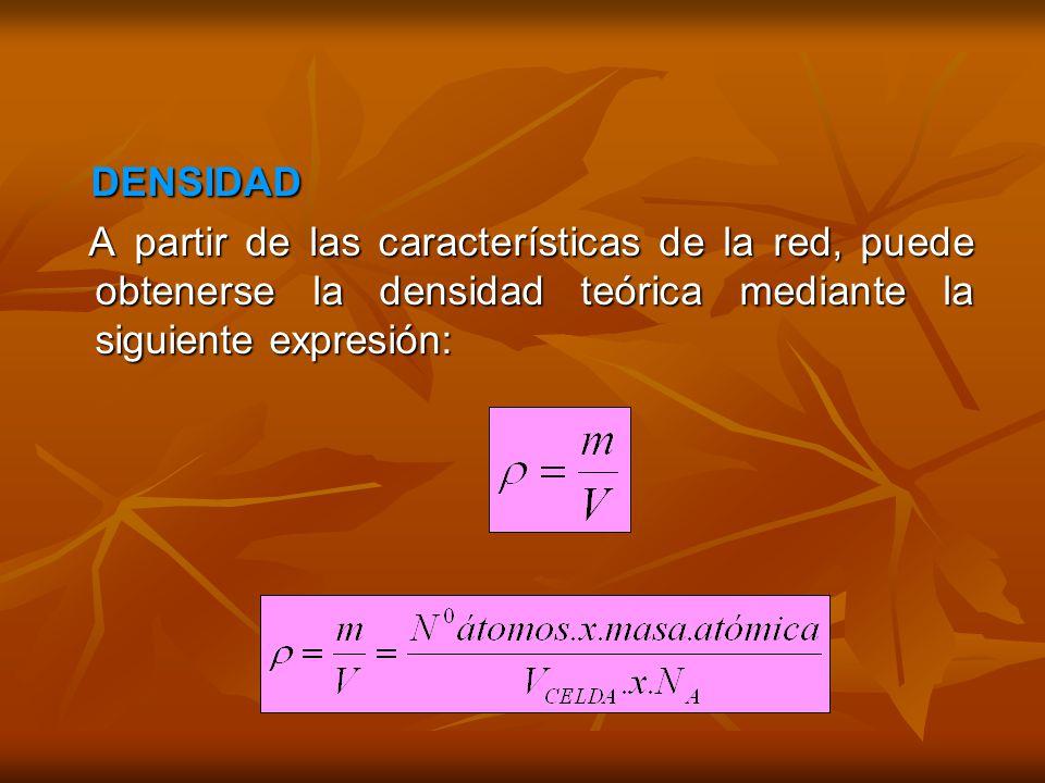 DENSIDAD DENSIDAD A partir de las características de la red, puede obtenerse la densidad teórica mediante la siguiente expresión: A partir de las características de la red, puede obtenerse la densidad teórica mediante la siguiente expresión: