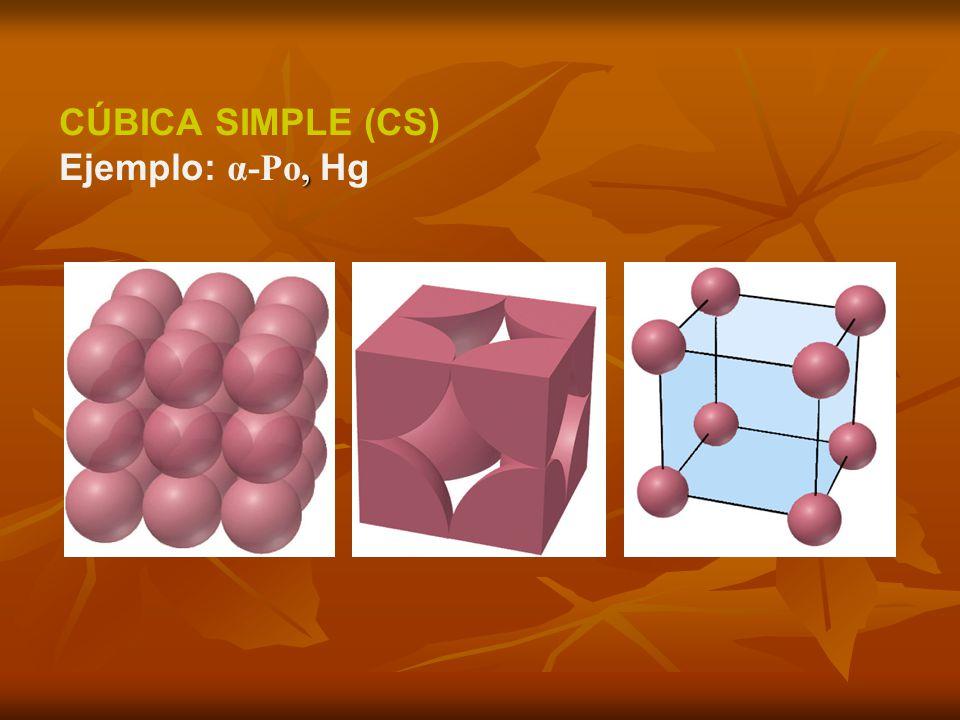 , CÚBICA SIMPLE (CS) Ejemplo: α-Po, Hg