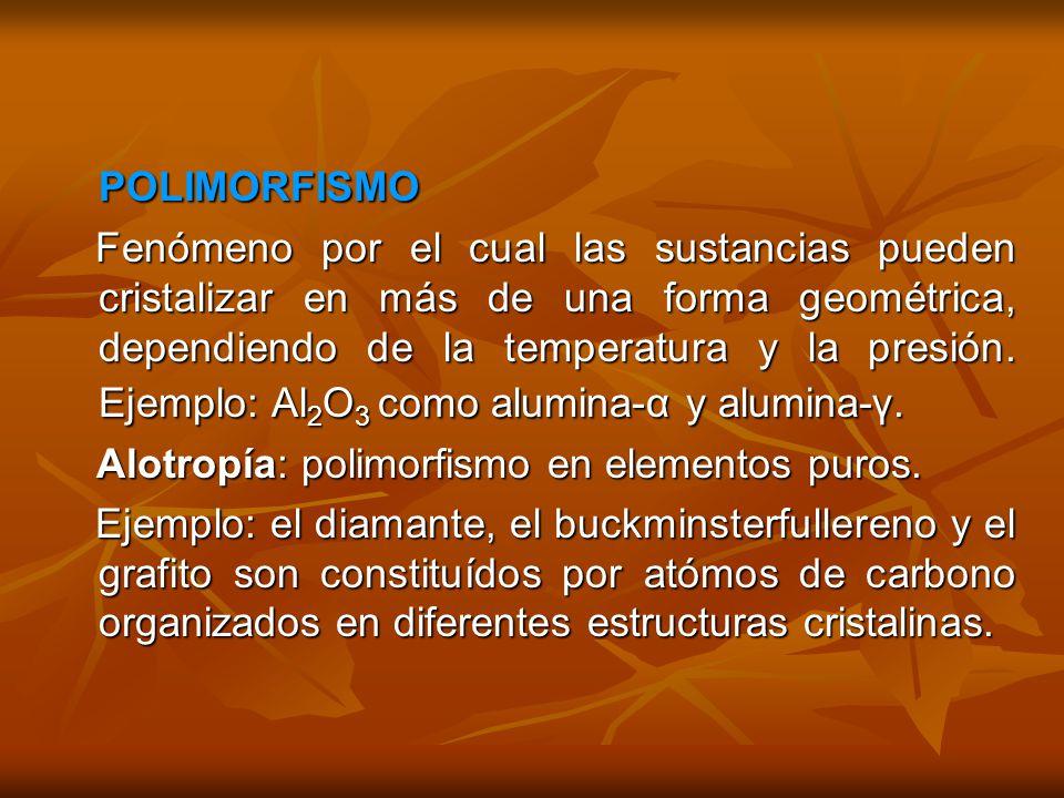 POLIMORFISMO POLIMORFISMO Fenómeno por el cual las sustancias pueden cristalizar en más de una forma geométrica, dependiendo de la temperatura y la presión.