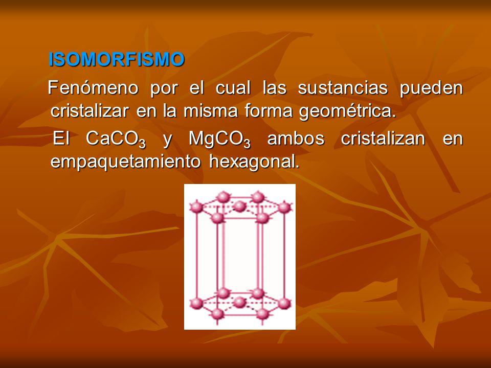 ISOMORFISMO ISOMORFISMO Fenómeno por el cual las sustancias pueden cristalizar en la misma forma geométrica. Fenómeno por el cual las sustancias puede