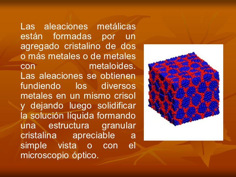 Las aleaciones metálicas están formadas por un agregado cristalino de dos o más metales o de metales con metaloides.