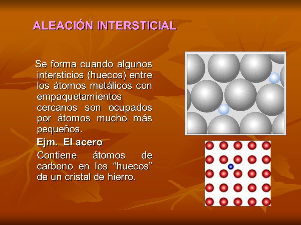 Se forma cuando algunos intersticios (huecos) entre los átomos metálicos con empaquetamientos cercanos son ocupados por átomos mucho más pequeños.