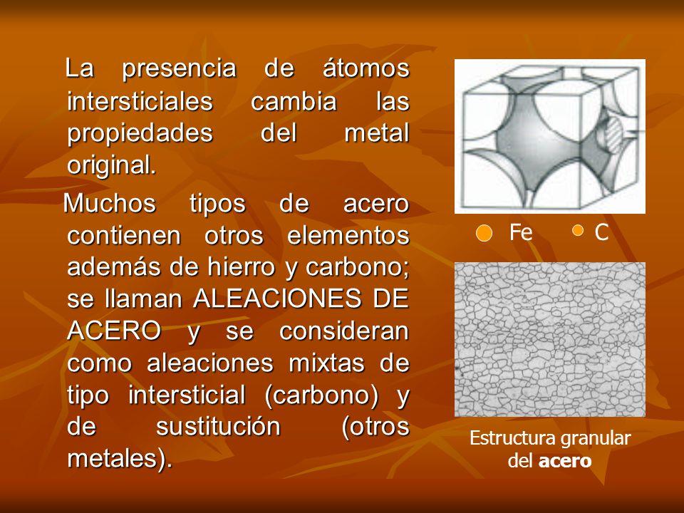 La presencia de átomos intersticiales cambia las propiedades del metal original.