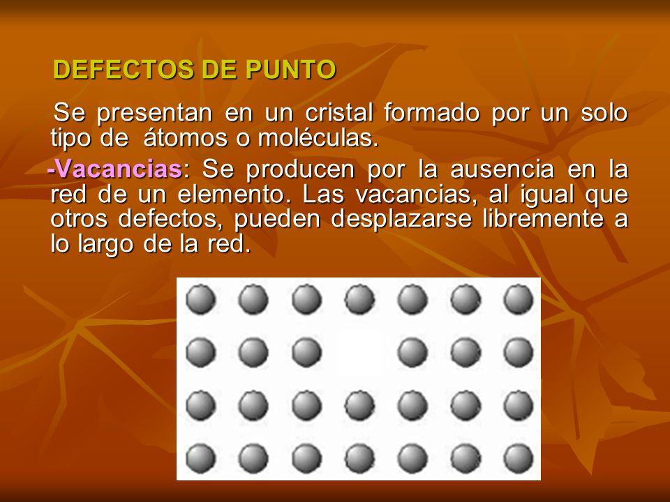 DEFECTOS DE PUNTO DEFECTOS DE PUNTO Se presentan en un cristal formado por un solo tipo de átomos o moléculas. Se presentan en un cristal formado por