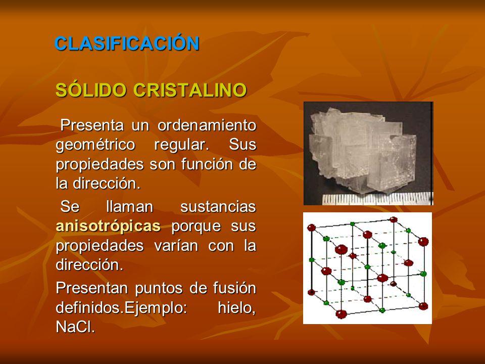 SÓLIDO CRISTALINO SÓLIDO CRISTALINO Presenta un ordenamiento geométrico regular. Sus propiedades son función de la dirección. Presenta un ordenamiento