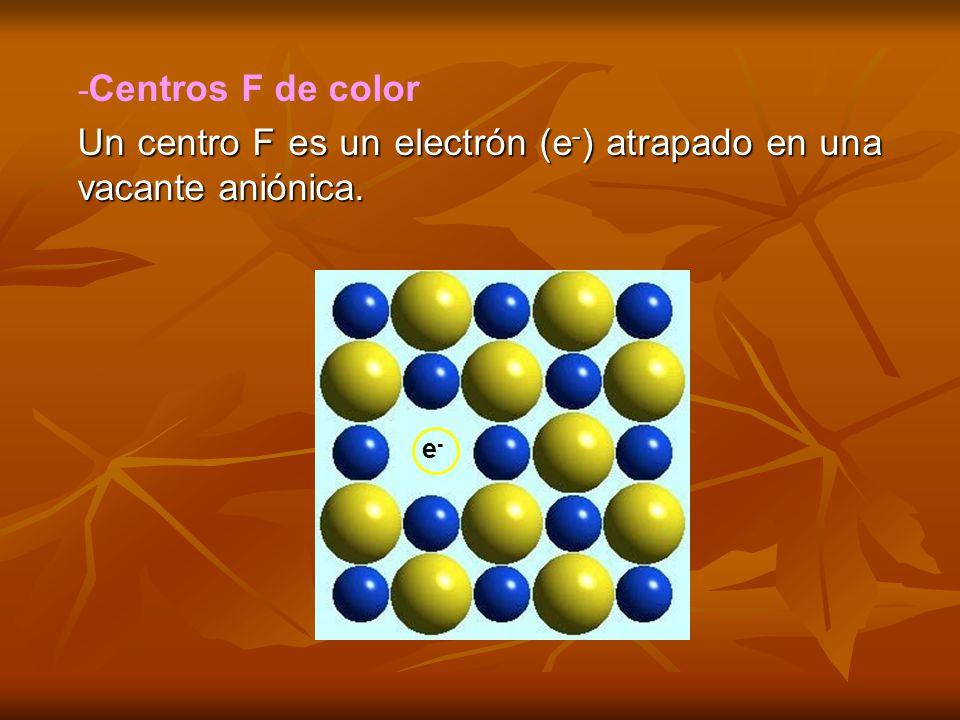 - Centros F de color Un centro F es un electrón (e - ) atrapado en una vacante aniónica. e-e-
