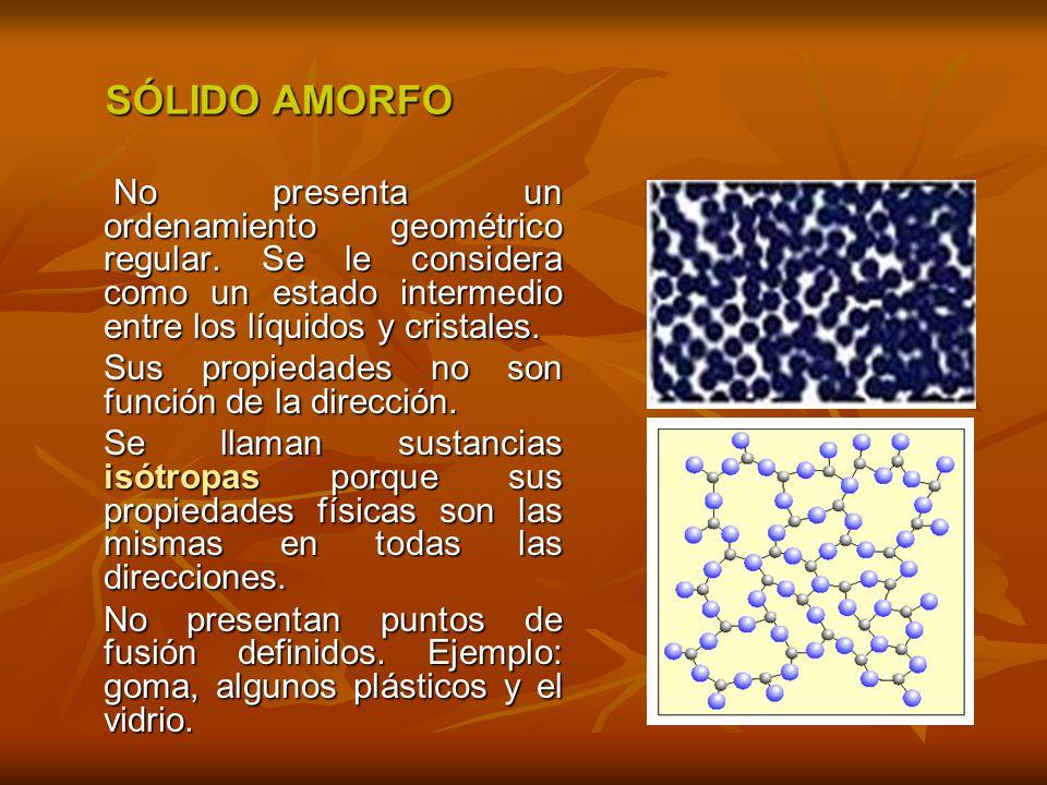No presenta un ordenamiento geométrico regular. Se le considera como un estado intermedio entre los líquidos y cristales. No presenta un ordenamiento