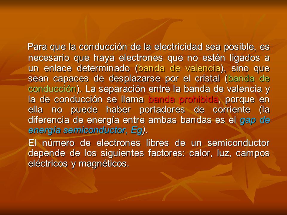 Para que la conducción de la electricidad sea posible, es necesario que haya electrones que no estén ligados a un enlace determinado (banda de valencia), sino que sean capaces de desplazarse por el cristal (banda de conducción).
