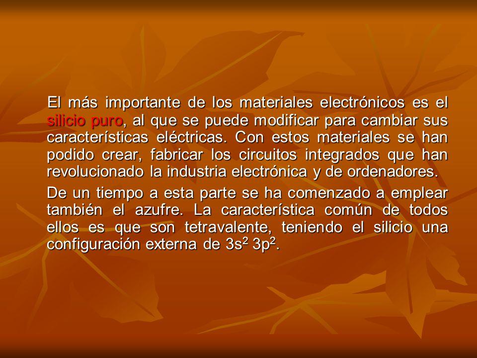 El más importante de los materiales electrónicos es el silicio puro, al que se puede modificar para cambiar sus características eléctricas. Con estos