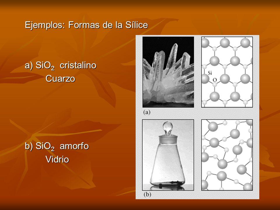 Ejemplos: Formas de la Sílice a) SiO 2 cristalino Cuarzo Cuarzo b) SiO 2 amorfo Vidrio Vidrio