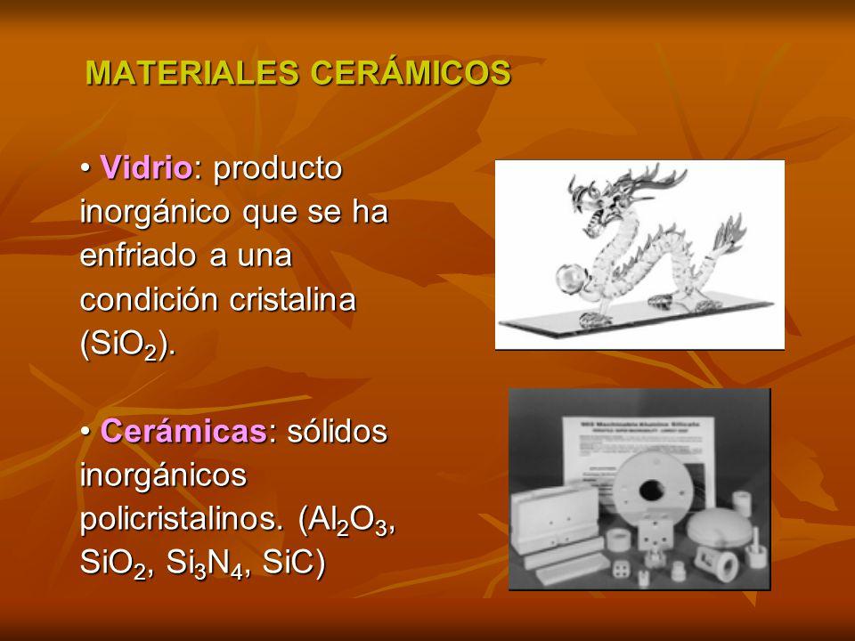 MATERIALES CERÁMICOS MATERIALES CERÁMICOS Vidrio: producto Vidrio: producto inorgánico que se ha enfriado a una condición cristalina (SiO 2 ). Cerámic
