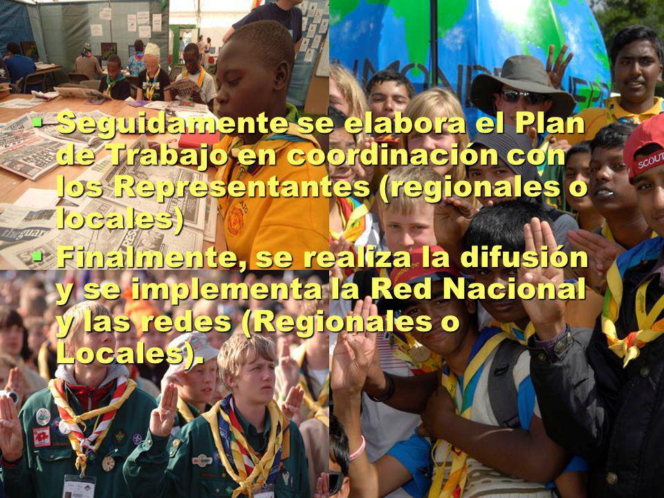 Seguidamente se elabora el Plan de Trabajo en coordinación con los Representantes (regionales o locales) Seguidamente se elabora el Plan de Trabajo en coordinación con los Representantes (regionales o locales) Finalmente, se realiza la difusión y se implementa la Red Nacional y las redes (Regionales o Locales).