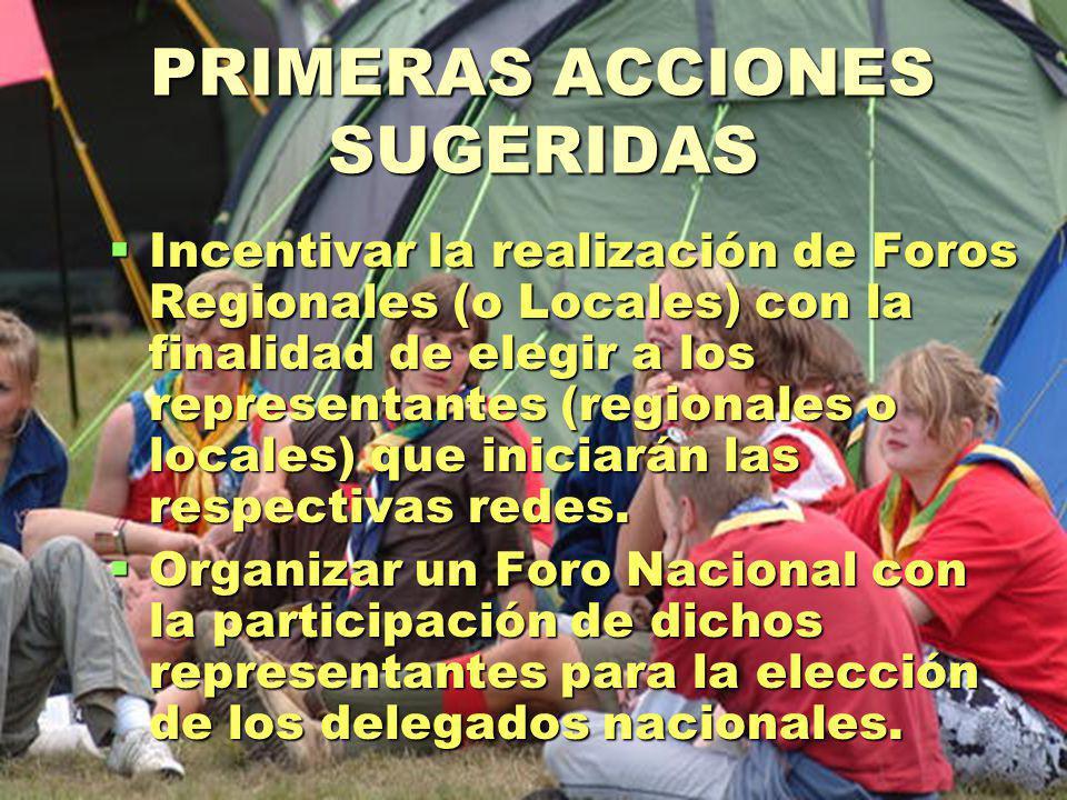 PRIMERAS ACCIONES SUGERIDAS Incentivar la realización de Foros Regionales (o Locales) con la finalidad de elegir a los representantes (regionales o locales) que iniciarán las respectivas redes.