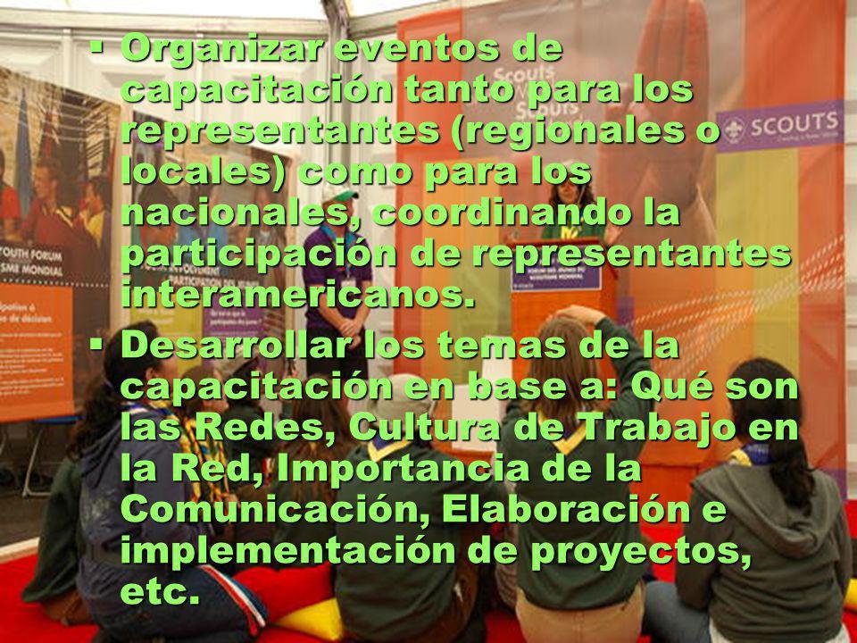 Organizar eventos de capacitación tanto para los representantes (regionales o locales) como para los nacionales, coordinando la participación de representantes interamericanos.