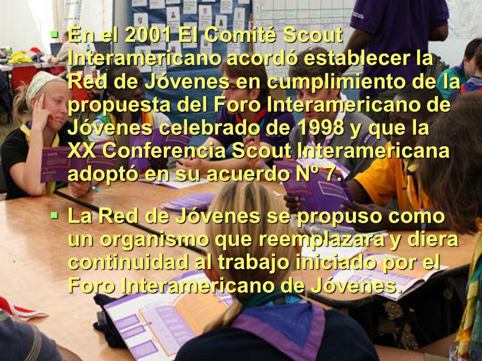 En el 2001 El Comité Scout Interamericano acordó establecer la Red de Jóvenes en cumplimiento de la propuesta del Foro Interamericano de Jóvenes celebrado de 1998 y que la XX Conferencia Scout Interamericana adoptó en su acuerdo Nº 7.