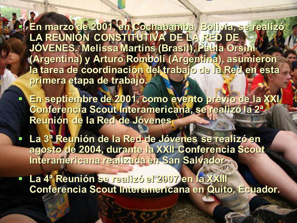 En marzo de 2001, en Cochabamba, Bolivia, se realizó LA REUNIÓN CONSTITUTIVA DE LA RED DE JÓVENES.