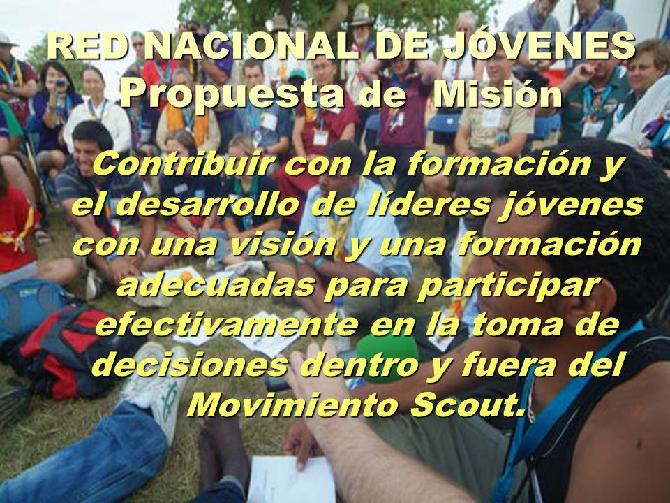 RED NACIONAL DE JÓVENES Propuesta de Misión Contribuir con la formación y el desarrollo de líderes jóvenes con una visión y una formación adecuadas para participar efectivamente en la toma de decisiones dentro y fuera del Movimiento Scout.