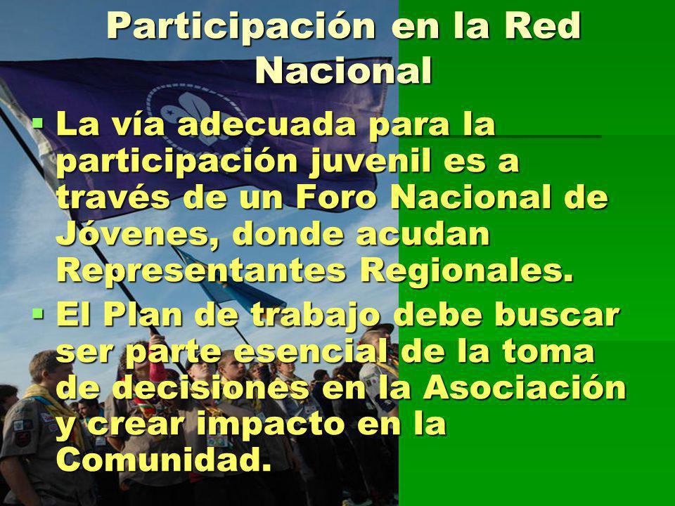 Participación en la Red Nacional La vía adecuada para la participación juvenil es a través de un Foro Nacional de Jóvenes, donde acudan Representantes Regionales.