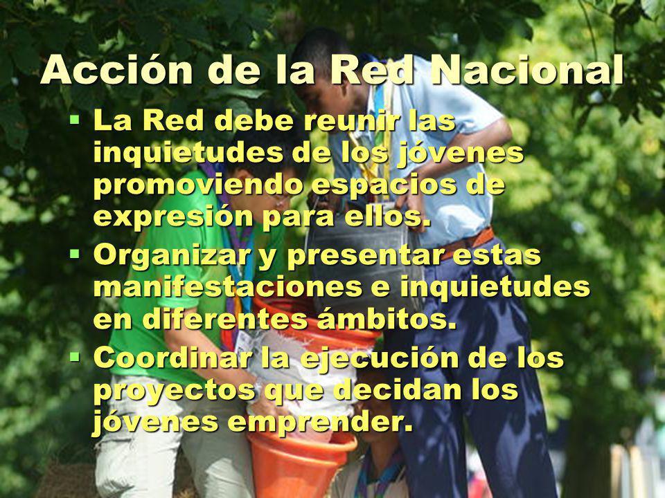 Acción de la Red Nacional La Red debe reunir las inquietudes de los jóvenes promoviendo espacios de expresión para ellos.
