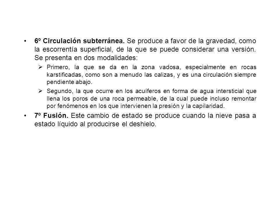 6º Circulación subterránea. Se produce a favor de la gravedad, como la escorrentía superficial, de la que se puede considerar una versión. Se presenta