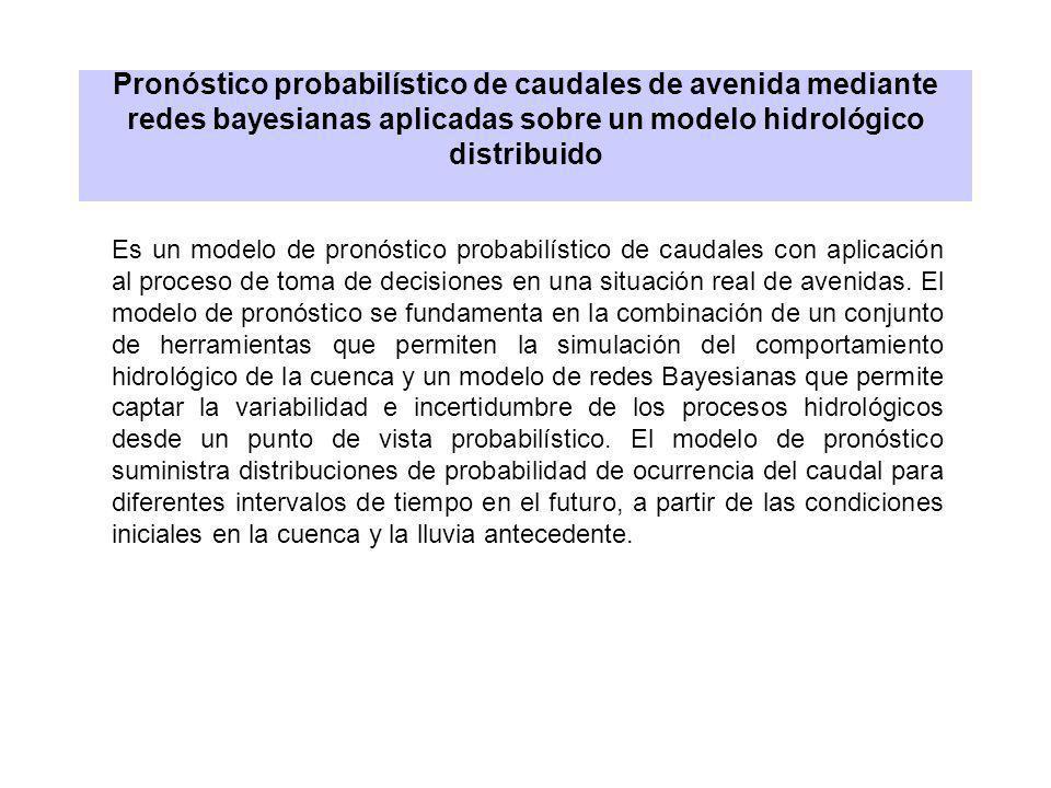 Pronóstico probabilístico de caudales de avenida mediante redes bayesianas aplicadas sobre un modelo hidrológico distribuido Es un modelo de pronóstic