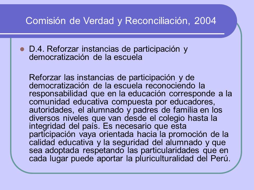 D.4. Reforzar instancias de participación y democratización de la escuela Reforzar las instancias de participación y de democratización de la escuela