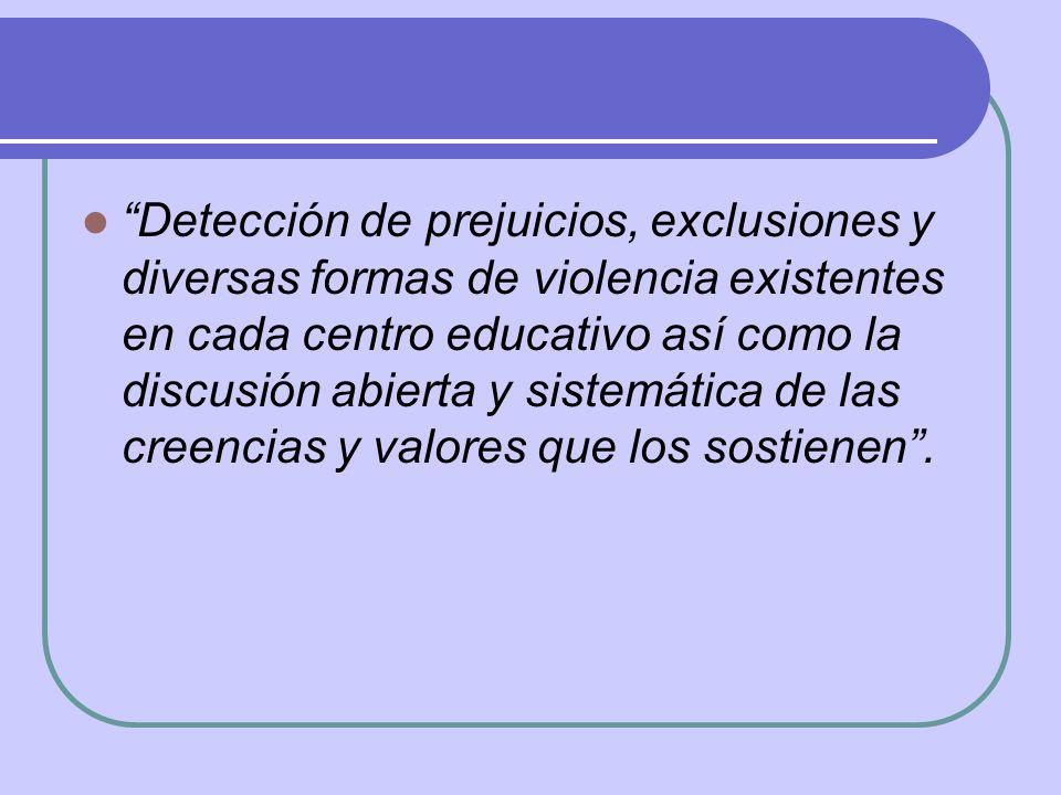 Detección de prejuicios, exclusiones y diversas formas de violencia existentes en cada centro educativo así como la discusión abierta y sistemática de