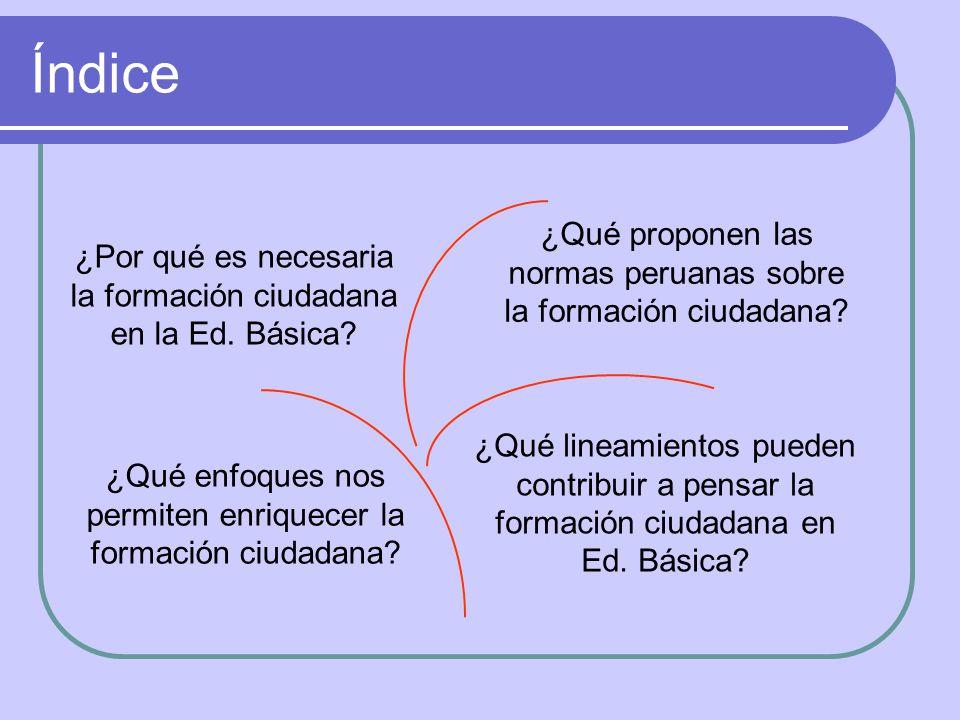 Índice ¿Por qué es necesaria la formación ciudadana en la Ed. Básica? ¿Qué proponen las normas peruanas sobre la formación ciudadana? ¿Qué enfoques no