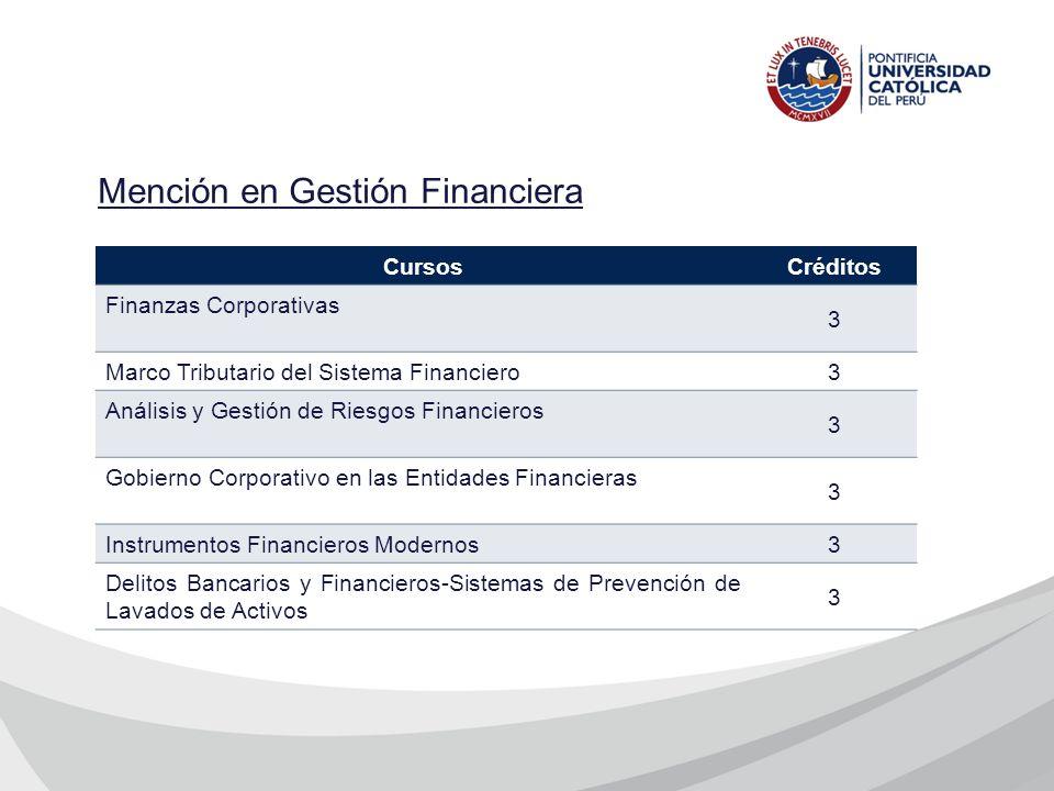 CursosCréditos Finanzas Corporativas 3 Marco Tributario del Sistema Financiero 3 Análisis y Gestión de Riesgos Financieros 3 Gobierno Corporativo en l