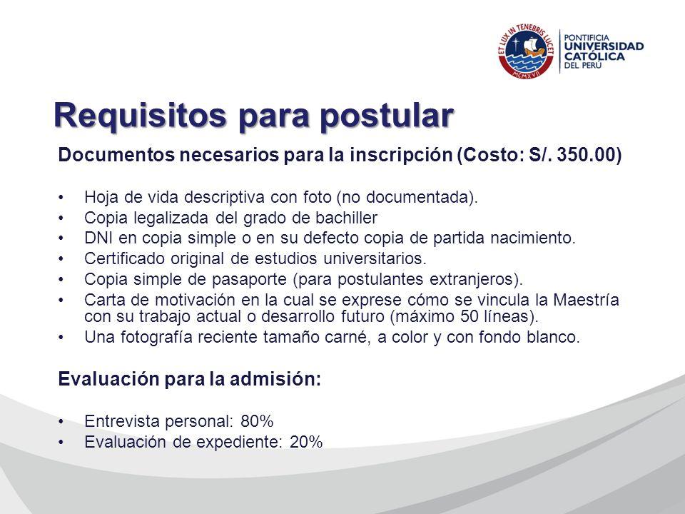 Documentos necesarios para la inscripción (Costo: S/. 350.00) Hoja de vida descriptiva con foto (no documentada). Copia legalizada del grado de bachil