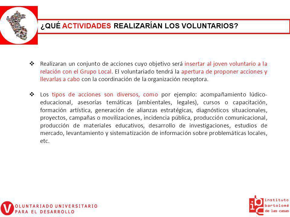 Realizaran un conjunto de acciones cuyo objetivo será insertar al joven voluntario a la relación con el Grupo Local. El voluntariado tendrá la apertur