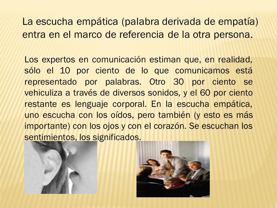La escucha empática (palabra derivada de empatía) entra en el marco de referencia de la otra persona. Los expertos en comunicación estiman que, en rea