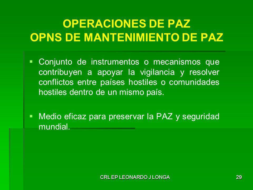 CRL EP LEONARDO J LONGA29 OPERACIONES DE PAZ OPNS DE MANTENIMIENTO DE PAZ Conjunto de instrumentos o mecanismos que contribuyen a apoyar la vigilancia
