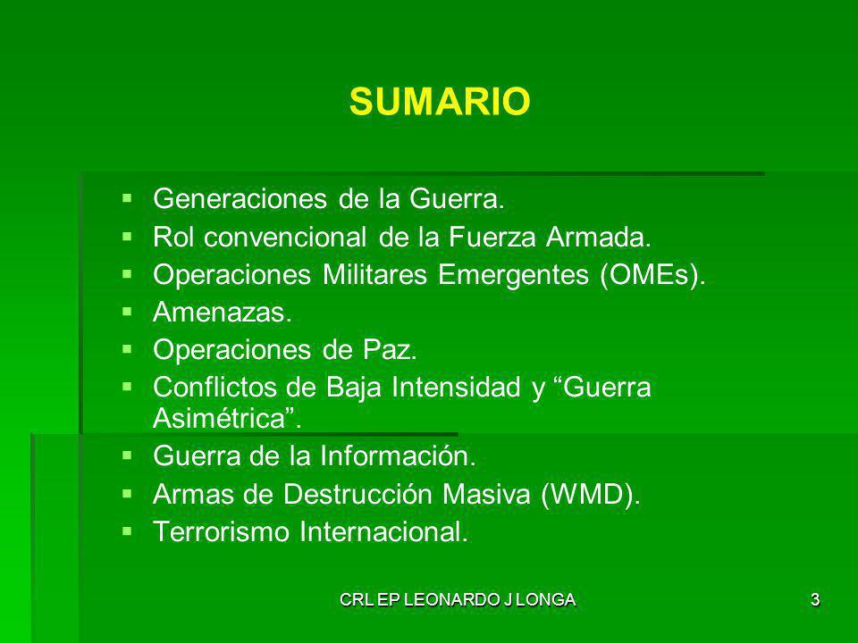 CRL EP LEONARDO J LONGA24 AMENAZAS EMERGENTES Conflictos intraestatales (frente a los anteriores conflictos interestatales).