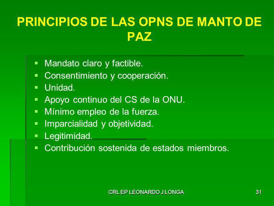 CRL EP LEONARDO J LONGA31 PRINCIPIOS DE LAS OPNS DE MANTO DE PAZ Mandato claro y factible. Consentimiento y cooperación. Unidad. Apoyo continuo del CS
