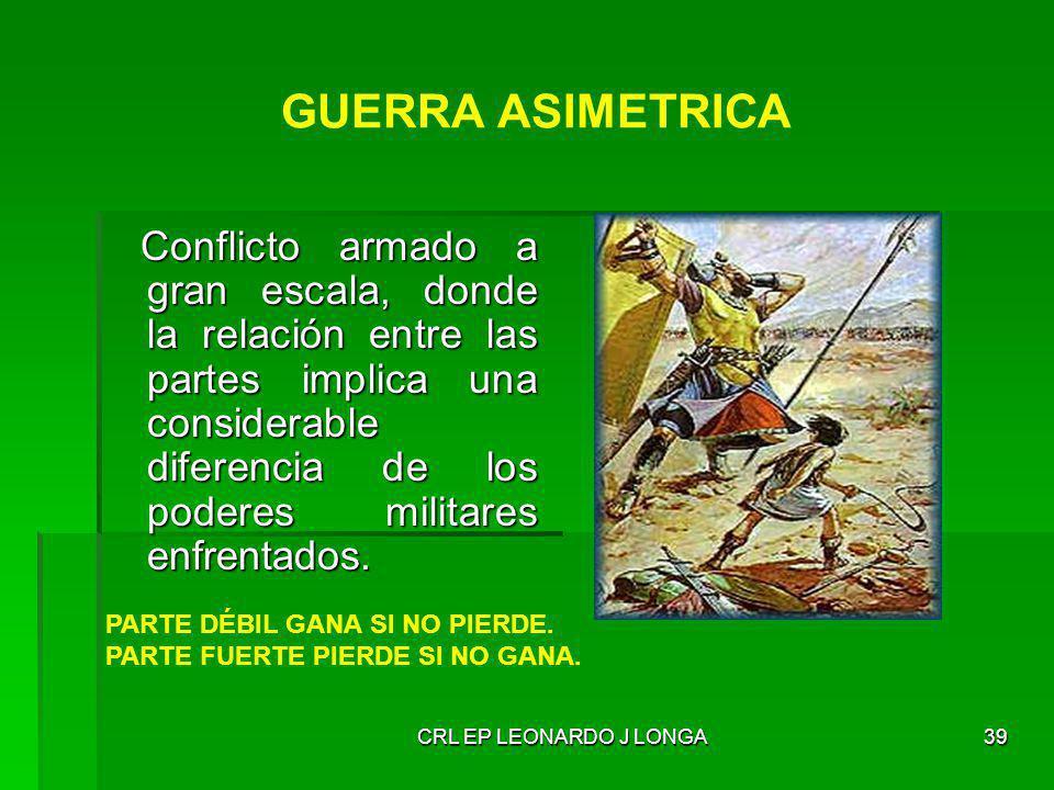 CRL EP LEONARDO J LONGA39 Conflicto armado a gran escala, donde la relación entre las partes implica una considerable diferencia de los poderes milita