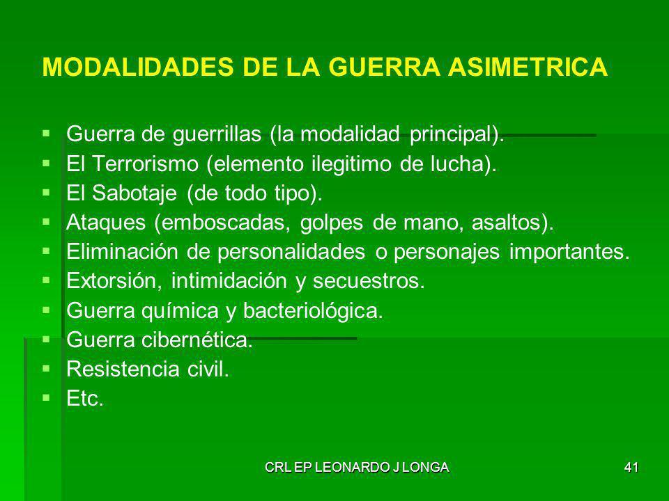 CRL EP LEONARDO J LONGA41 MODALIDADES DE LA GUERRA ASIMETRICA Guerra de guerrillas (la modalidad principal). El Terrorismo (elemento ilegitimo de luch