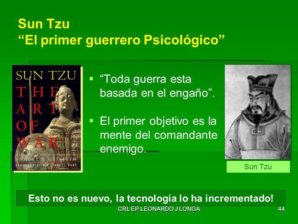CRL EP LEONARDO J LONGA44 Sun Tzu El primer guerrero Psicológico Toda guerra esta basada en el engaño. El primer objetivo es la mente del comandante e