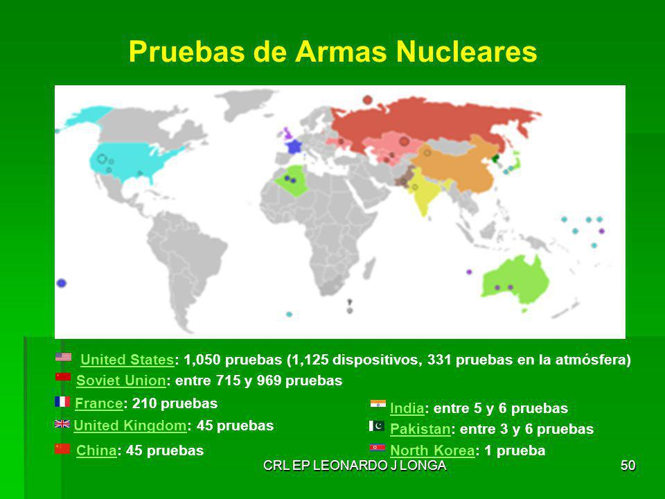 CRL EP LEONARDO J LONGA50 Pruebas de Armas Nucleares United StatesUnited States: 1,050 pruebas (1,125 dispositivos, 331 pruebas en la atmósfera) Sovie