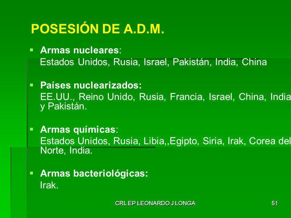 CRL EP LEONARDO J LONGA51 Armas nucleares: Estados Unidos, Rusia, Israel, Pakistán, India, China Países nuclearizados: EE.UU., Reino Unido, Rusia, Fra