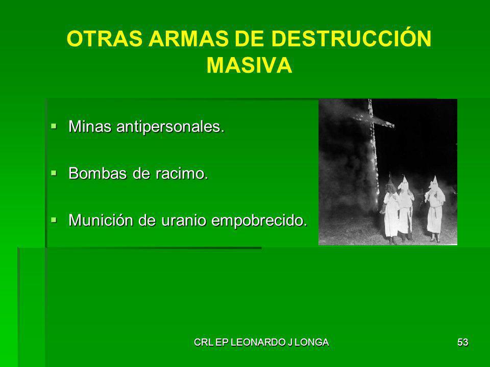CRL EP LEONARDO J LONGA53 OTRAS ARMAS DE DESTRUCCIÓN MASIVA Minas antipersonales. Minas antipersonales. Bombas de racimo. Bombas de racimo. Munición d
