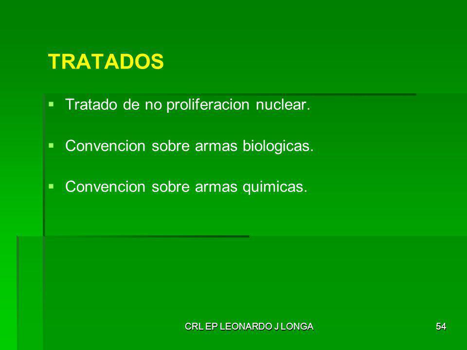 CRL EP LEONARDO J LONGA54 TRATADOS Tratado de no proliferacion nuclear. Convencion sobre armas biologicas. Convencion sobre armas quimicas.