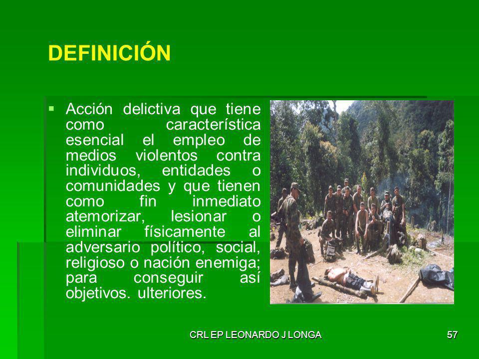 CRL EP LEONARDO J LONGA57 DEFINICIÓN Acción delictiva que tiene como característica esencial el empleo de medios violentos contra individuos, entidade