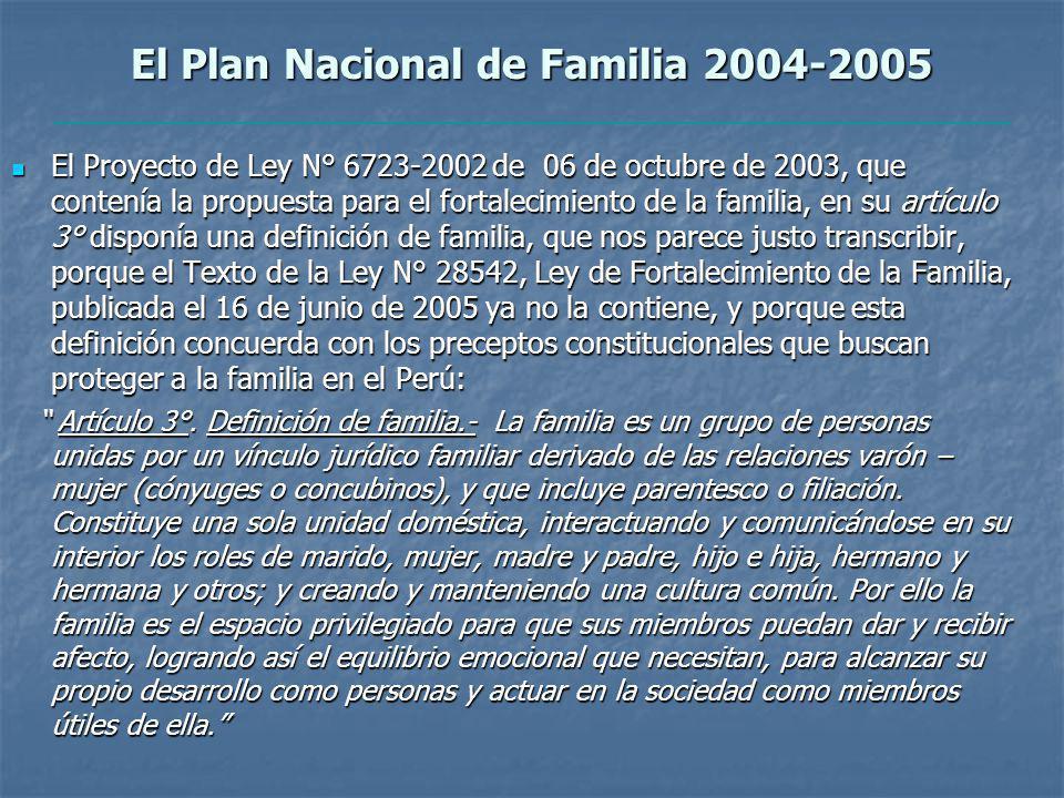 El Plan Nacional de Familia 2004-2005 El Proyecto de Ley N° 6723-2002 de 06 de octubre de 2003, que contenía la propuesta para el fortalecimiento de la familia, en su artículo 3° disponía una definición de familia, que nos parece justo transcribir, porque el Texto de la Ley N° 28542, Ley de Fortalecimiento de la Familia, publicada el 16 de junio de 2005 ya no la contiene, y porque esta definición concuerda con los preceptos constitucionales que buscan proteger a la familia en el Perú: El Proyecto de Ley N° 6723-2002 de 06 de octubre de 2003, que contenía la propuesta para el fortalecimiento de la familia, en su artículo 3° disponía una definición de familia, que nos parece justo transcribir, porque el Texto de la Ley N° 28542, Ley de Fortalecimiento de la Familia, publicada el 16 de junio de 2005 ya no la contiene, y porque esta definición concuerda con los preceptos constitucionales que buscan proteger a la familia en el Perú: Artículo 3°.