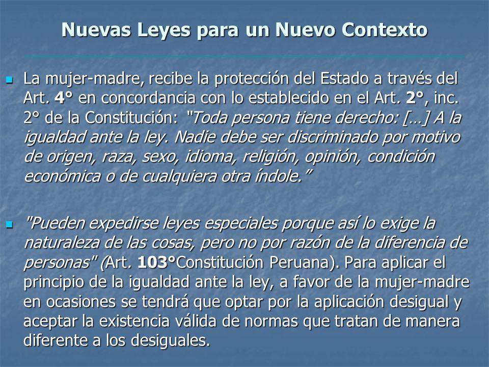 Nuevas Leyes para un Nuevo Contexto La mujer-madre, recibe la protección del Estado a través del Art.