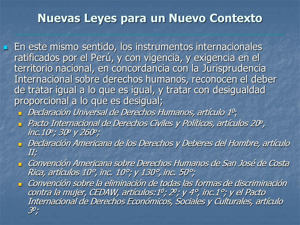 Nuevas Leyes para un Nuevo Contexto En este mismo sentido, los instrumentos internacionales ratificados por el Perú, y con vigencia, y exigencia en el territorio nacional, en concordancia con la Jurisprudencia Internacional sobre derechos humanos, reconocen el deber de tratar igual a lo que es igual, y tratar con desigualdad proporcional a lo que es desigual; En este mismo sentido, los instrumentos internacionales ratificados por el Perú, y con vigencia, y exigencia en el territorio nacional, en concordancia con la Jurisprudencia Internacional sobre derechos humanos, reconocen el deber de tratar igual a lo que es igual, y tratar con desigualdad proporcional a lo que es desigual; Declaración Universal de Derechos Humanos, artículo 1 0 ; Declaración Universal de Derechos Humanos, artículo 1 0 ; Pacto Internacional de Derechos Civiles y Políticos, artículos 20 o, inc.10 o ; 30 o y 260 o ; Pacto Internacional de Derechos Civiles y Políticos, artículos 20 o, inc.10 o ; 30 o y 260 o ; Declaración Americana de los Derechos y Deberes del Hombre, artículo II; Declaración Americana de los Derechos y Deberes del Hombre, artículo II; Convención Americana sobre Derechos Humanos de San José de Costa Rica, artículos 10°, inc.
