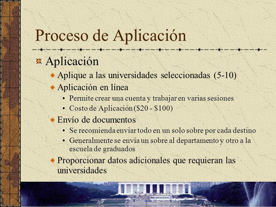 Proceso de Aplicación Aplicación Aplique a las universidades seleccionadas (5-10) Aplicación en línea Permite crear una cuenta y trabajar en varias se