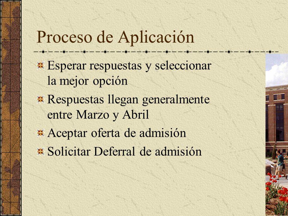 Proceso de Aplicación Esperar respuestas y seleccionar la mejor opción Respuestas llegan generalmente entre Marzo y Abril Aceptar oferta de admisión S